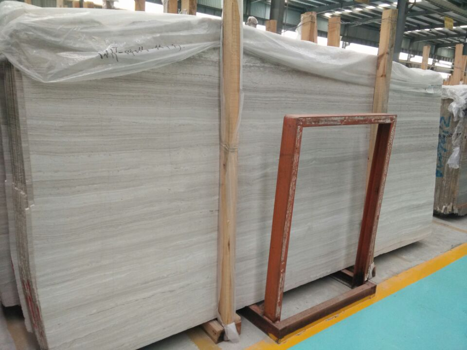Polished White Light Wood Grain Marble Tile-ShiyueStone