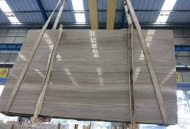 China Grey Wooden Marble Polished Slabs