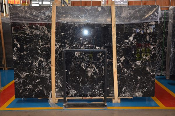 Century Black Ice Marble High Polished Beautiful Marble Slabs